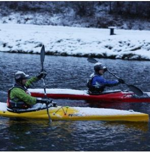 Moss may not settle on a rolling stone but snow does settle on a moving kayak!